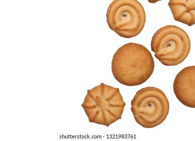 Danish butter cookies, butter cookies on white. Traditional danish Christmas cookies. Sweet danish cookies