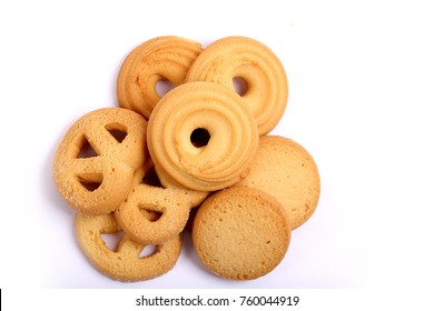 Danish butter cookies on white, butter cookies on white