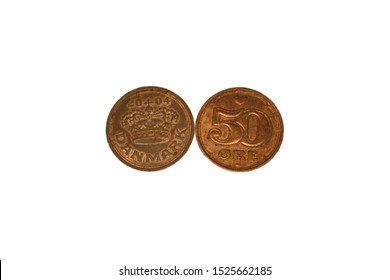 Danish coins 50 ore isolated on white background.