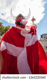 Danish fan with a flag
