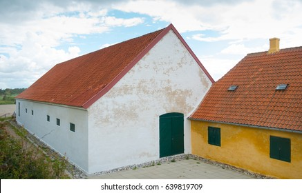 danish farmhouse with barn on the Zealand island