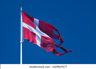 """The Danish flag """"Dannebrog"""" as it is thought to have looked 800 years ago when it dropped from the sky."""