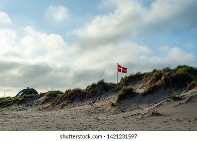 the danish flag flying over the dunes of a beach