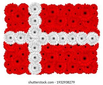 Danish flag made of gerbera flowers, isolated on white