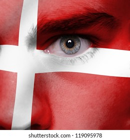 Danish flag painted on face