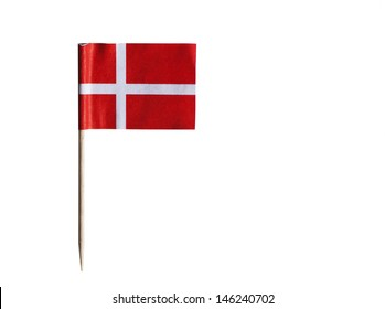Danish flag in toothpick against white background