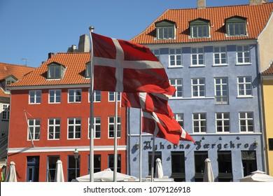 Danish Flags in Nyhavn Copenhagen