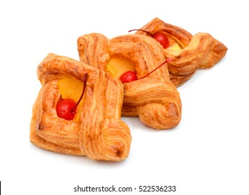 Danish fruit pastry isolated on white