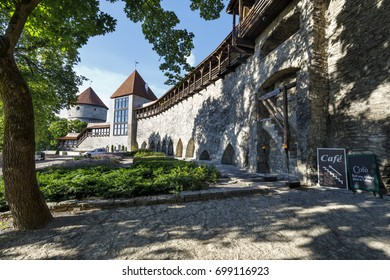 Danish garden with its famous curtain wall and towers in the old town of Tallinn, Estonia