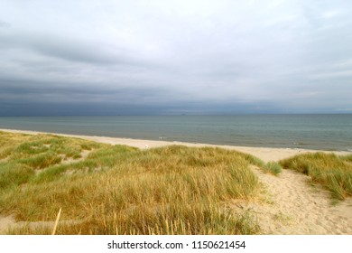 Danish grassy beach view during moody, cloudy day. Northern sea landscape.