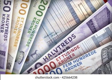 Danish Kroner bills creating a colorful background