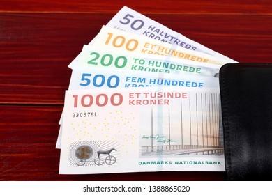 Danish kroner in the black wallet