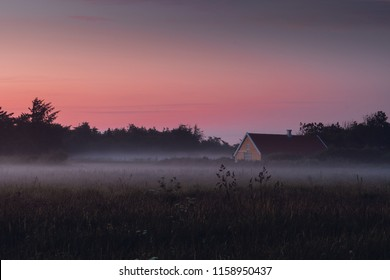 Danish landscape with mist during colorful sunset over field and meadows. Danish Beach, Lønstrup in North Jutland in Denmark, Skagerrak, North Sea