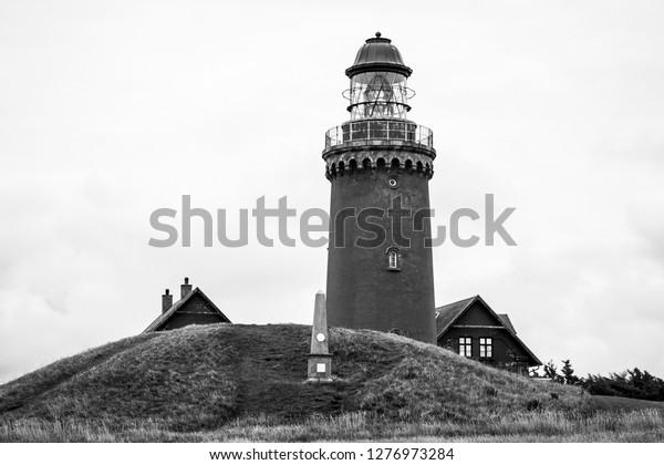 Danish lighthouse in black & white