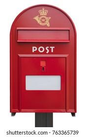 Danish mail box on white background