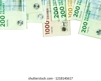 Danish money bills isolated on white background in upper side. Danish kroner paper mills of a thousand, hundred and two hundred.