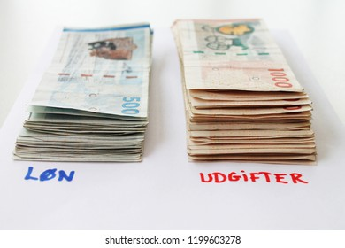 Danish Money Bills and text with salary and expenses