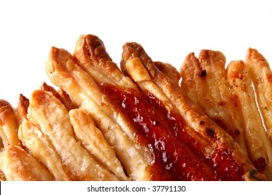 Danish pastry with honey and jam - close view