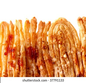 Danish pastry with honey and jam in row - close view