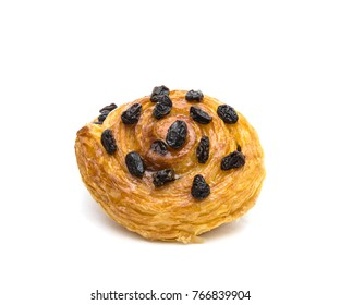 danish pastry with raisin isolated on white