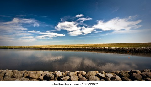 Danish river and wadden sea landscape