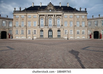 Danish Royal palace, Amalienborg castle residence of the Queen of Denmark in the capital copenhagen. Historical landmark and tourist attraction
