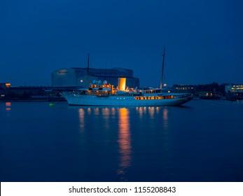 The Danish Royal Yacht Dannebrog at Dusk, Copenhagen Harbour, Copenhagen, Denmark, Europe, 19. May 2016