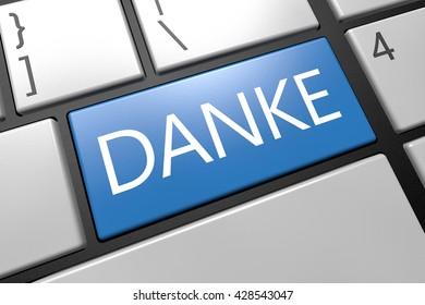 Danke - keyboard 3d render illustration with word on blue key