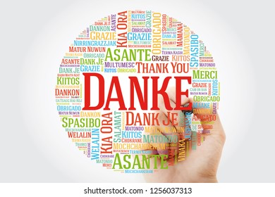 Danke (Thank You in German) Word Cloud with marker, all languages