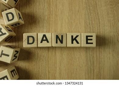 Danke word from wooden blocks on desk