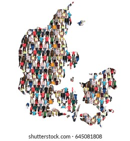 Danmark map multicultural group of people integration immigration diversity isolated