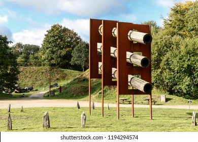 Tørskind, Danmark. October 3, 2018. In an abandoned gravel pit Danish sculptor Robert Jacobsen and French artist Jean Clareboudt created nine huge sculptures out of wood, iron, rocks and concrete.