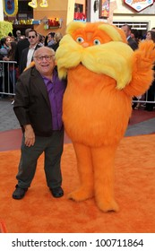 """Danny DeVito and Lorax at the """"Dr. Seuss' The Lorax"""" Premiere, Universal Studios, Universal City, CA 02-19-12"""