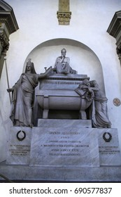 DANTE'S TOMB, SANTA CROCE CHURCH, FLORENCE, ITALY - 3 September 2016. Italian poet Dante's memorial tomb is in Santa Croce Church but his body was buried in Ravenna.