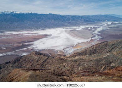 Dante's View  in Death Valley. Mountain and salty Area in Background. Dante's View provides a panoramic view of the southern Death Valley basin.