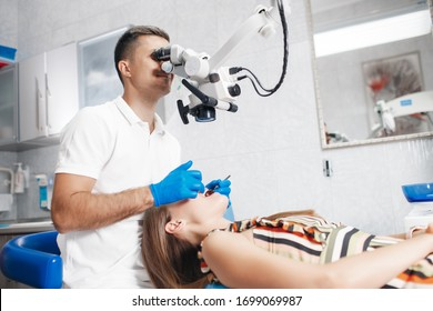 dantist cabinet. woman at dentist. doctor. teeth. medical cabinet at the hospital