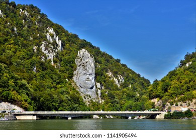 Danube boilers, Orsova - Romania. Sept.04.2016. The face of King Decebal is a 55 m high basorelief located on the rocky shores of the Danube, between the towns of Eselnita and Dubova.