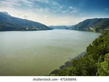 Danube border between Romania and Serbia. Landscape in the Danube Gorges. The narrowest part of the Gorge on the Danube between Serbia and Romania, also known as the Iron Gate.