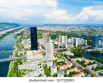 Danube City aerial panoramic view. Donaustadt is the district of Vienna, Austria. Danube City is a modern quarter with skyscrapers and business centres in Vienna, Austria.