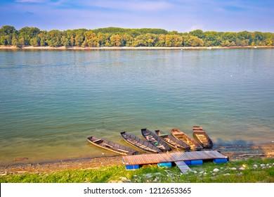 Danube coast in Vukovar landscape view, Croatia Serbia border