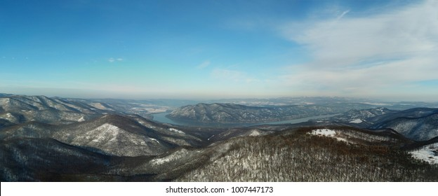 Danube Curve (Dunakanyar) panorama in the winter (near Visegrad)