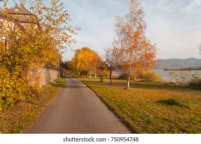 Danube cycling road in autumn fall colors park
