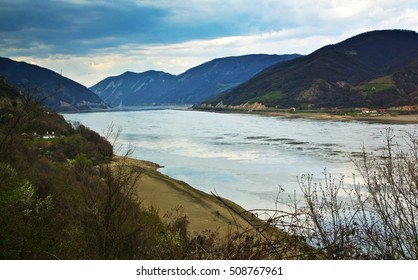 The Danube river amid mountains in Djerdap National Park, Serbia