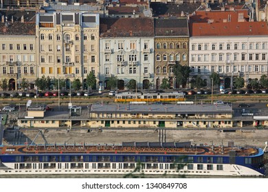 Danube River Banks Sunny Afternoon From Citadella in Budapest Hungary Layers