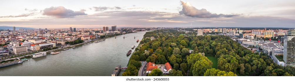 Danube River in City of Bratislava. Petrzalka Suburb on the Right Bank of the River at Sunset