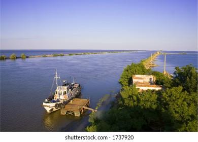 Danube river flows into Black Sea and pilot boat