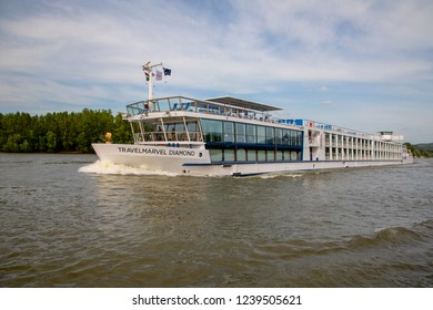 Danube River Hungary 4 30 2018:   Cruise ships on Danube river near Budapest.