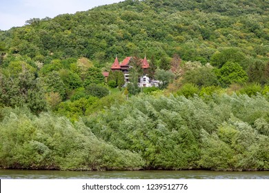 Danube River Hungary 4-30-2018: Vintage Hunting lodge fully renovated on the bank of the River Danube. Some of these buildings are UNESCO herotage.