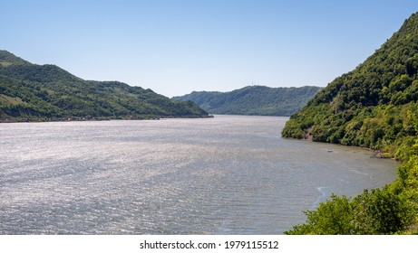 Danube river at the Iron gates Djerdapska klisura gorge between Serbia and Romania - Shutterstock ID 1979115512