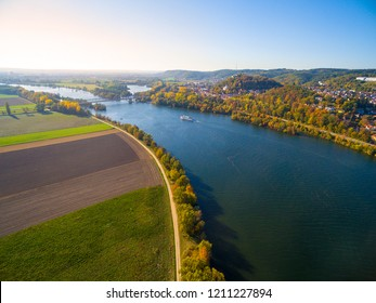The Danube River near Donaustauf. Second longest european river flows through 10 countries. Originating in Germany, the Danube flows southeast for 2,850 km (1,770 mi).